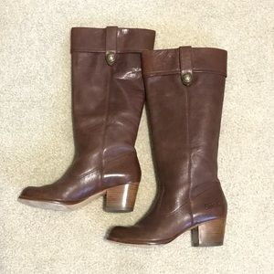 Coach Genuine Leather Boots Brown 7 B Heel Women's